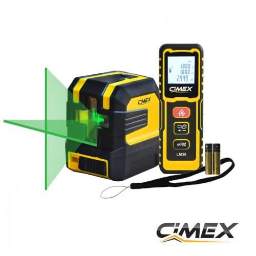 ИЗМЕРВАТЕЛНА ТЕХНИКА - ПРОМО ПАКЕТ! Лазерен нивелир с кръстосани линии, зелен лъч + лазерна ролетка 30м.