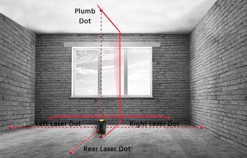 Точков лазерен нивелир с 5 точки, отвес + кръстосани линии