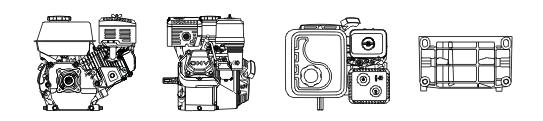 Бензинов двигател 9 к.с. CIMEX G270 - монтажни размери